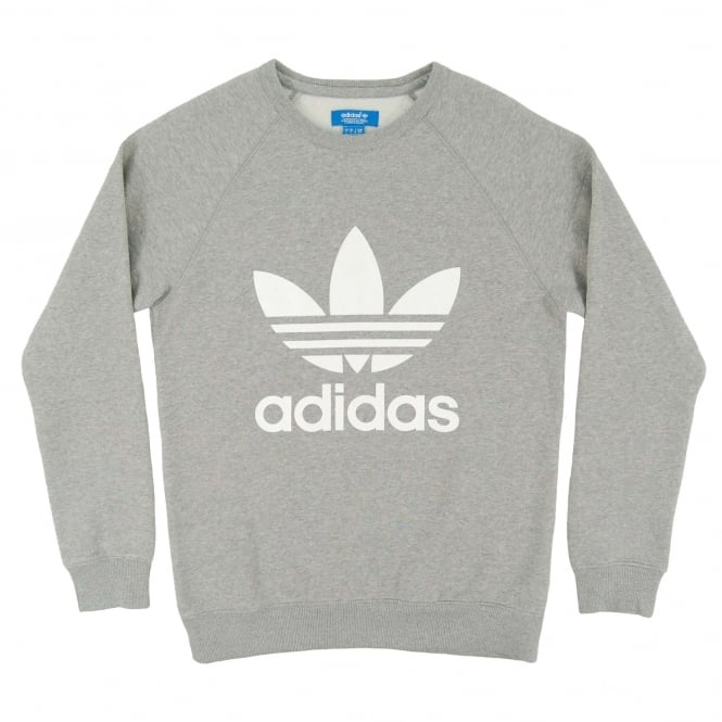 Adidas Originals Original Trefoil Crew Sweat Med Grey Heather