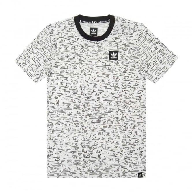 e86e86c34 Adidas Originals Pitted All Over Print T-Shirt White - Mens Clothing ...