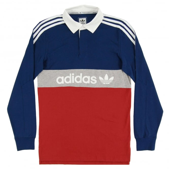 Adidas Originals Rugby Nautical Polo Mystery Red Mystery Blue Grey Heather