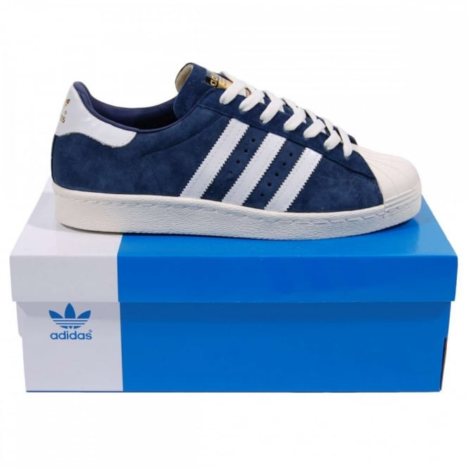 Blue And Whote Adidas Superstar Shoes