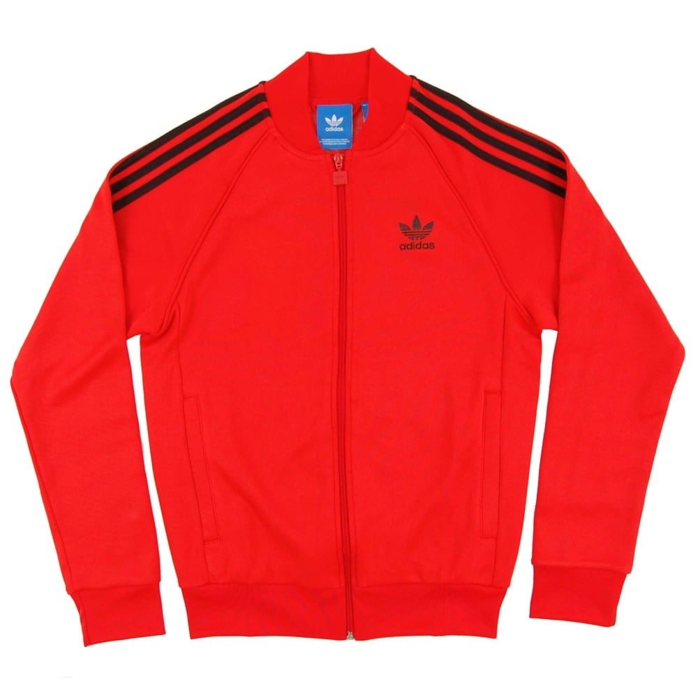 Adidas Originals Superstar Track Top Core Red Mens Clothing From