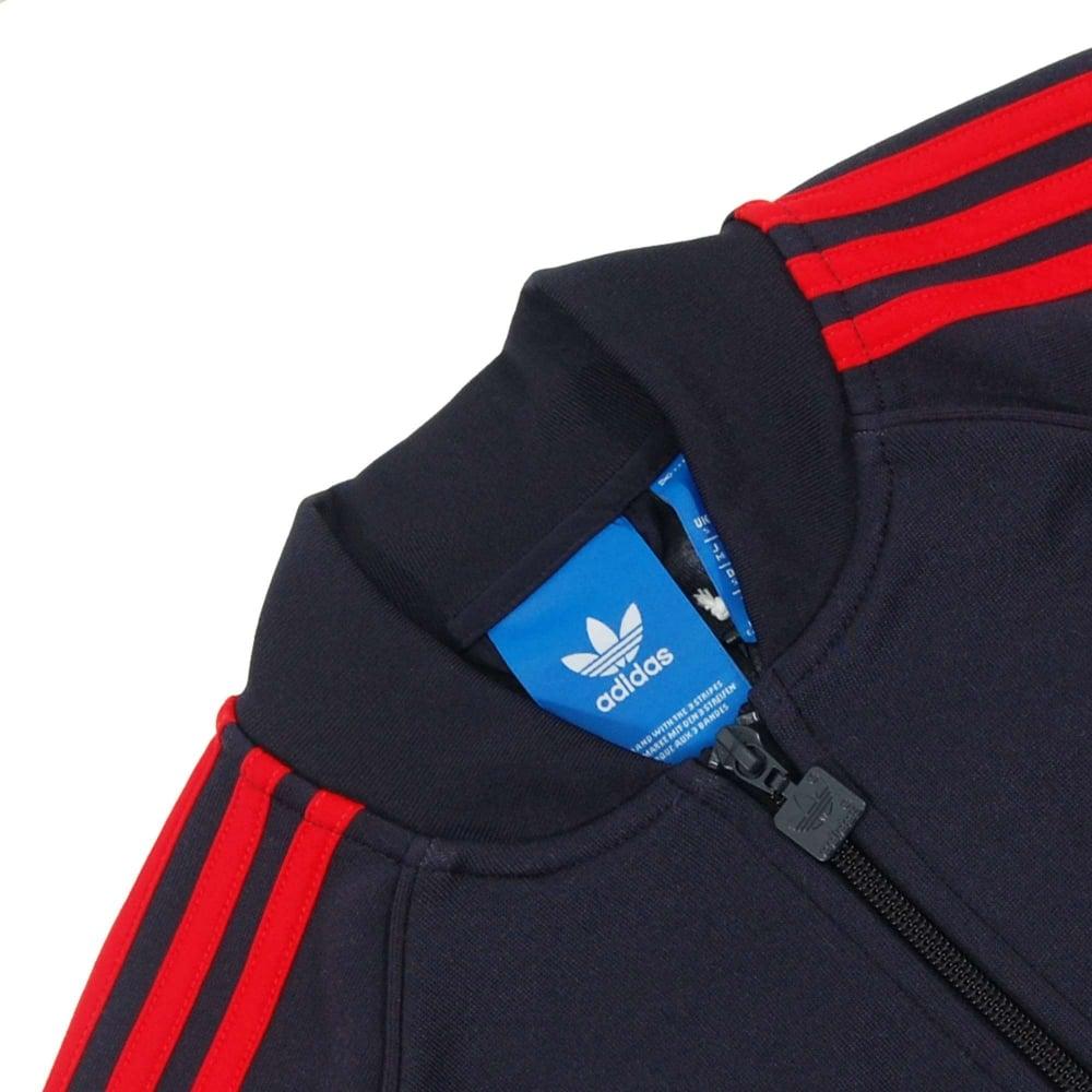 finest selection 849b8 543c8 Adidas Originals Superstar Track Top Legend Ink Red