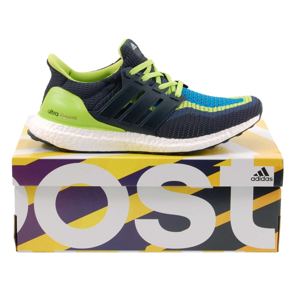 4ae5f6f5ae396 Adidas Originals Ultra Boost Semi Solar Slime Night Navy Shock Blue ...