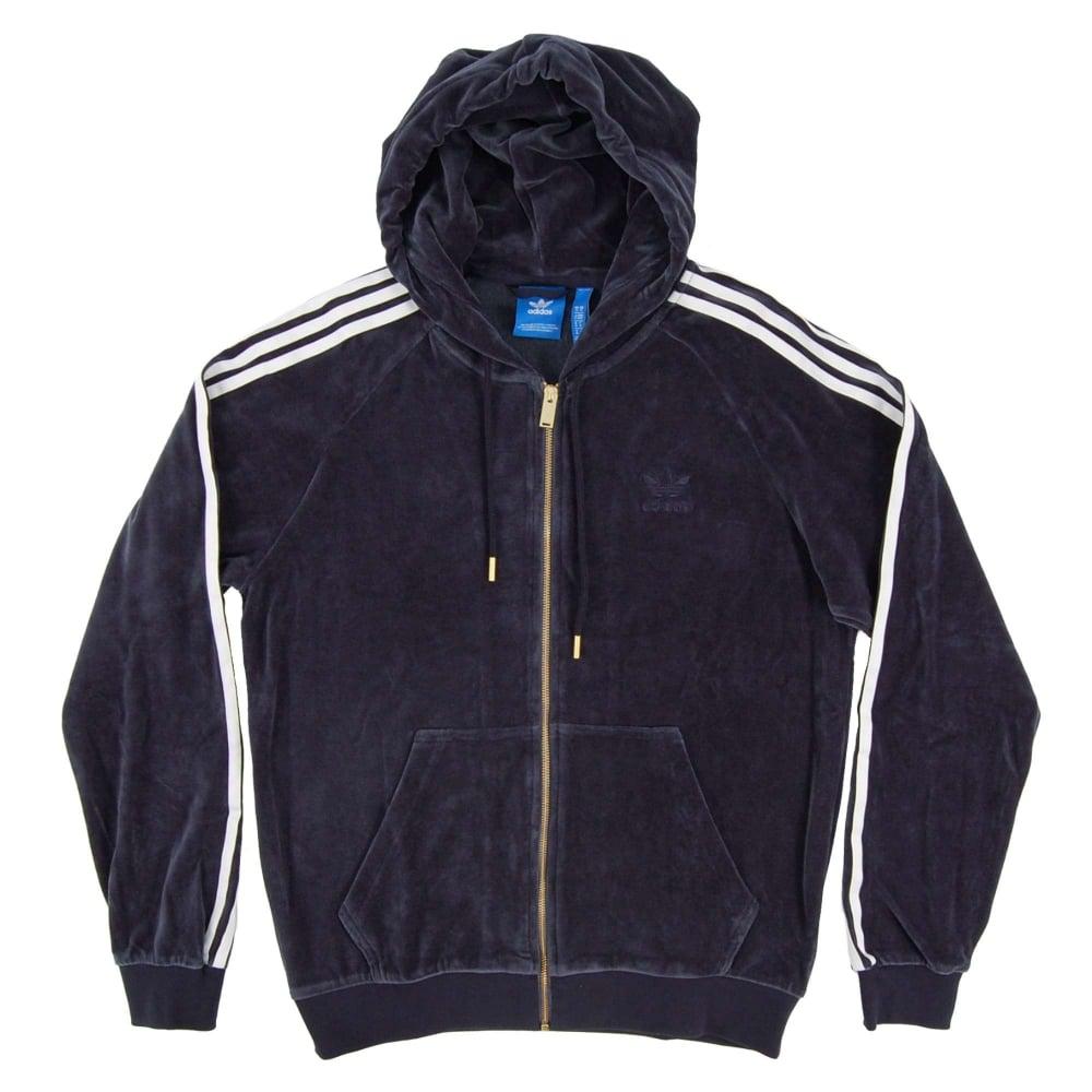 e7aa58a8 Adidas Originals Velour Zip Hood Legend Ink