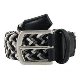 Stretch Woven Belt Black White Grey