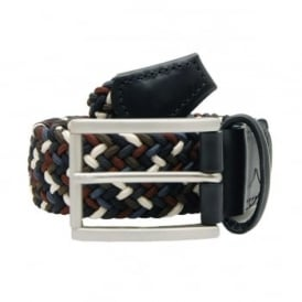 Stretch Woven Belt Brown White Navy