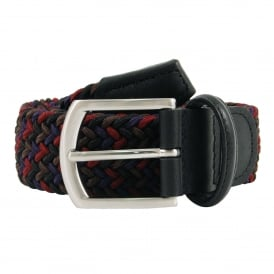 Stretch Woven Belt Maroon Brown Navy