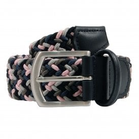 Stretch Woven Belt Navy Grey Pink