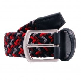 Stretch Woven Belt Red Grey Navy