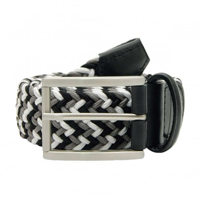 Anderson's Stretch Woven Belt Square Buckle Black White Grey