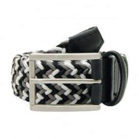 Stretch Woven Belt Square Buckle Black White Grey