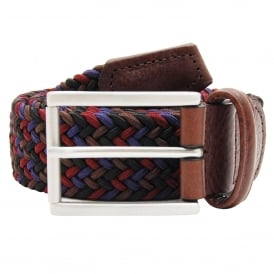 Stretch Woven Belt Square Buckle Maroon Brown