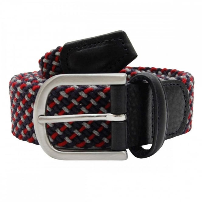Anderson's Stretch Woven Cotton Belt Grey Navy Red