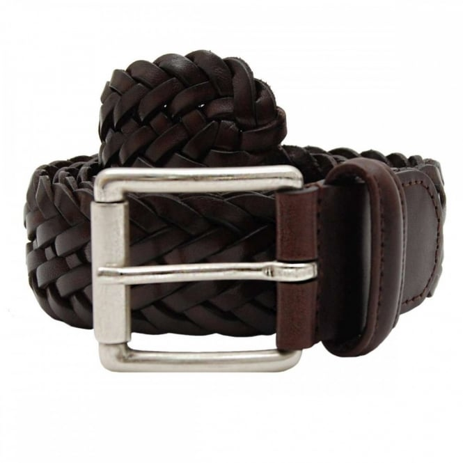 Anderson's Woven Leather Belt Brown