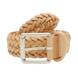 Woven Leather Belt Natural