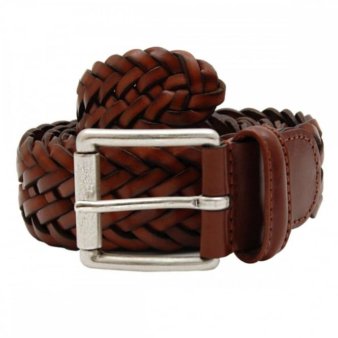 Anderson's Woven Leather Belt Tan