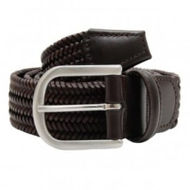 Woven Leather Stretch Belt Brown
