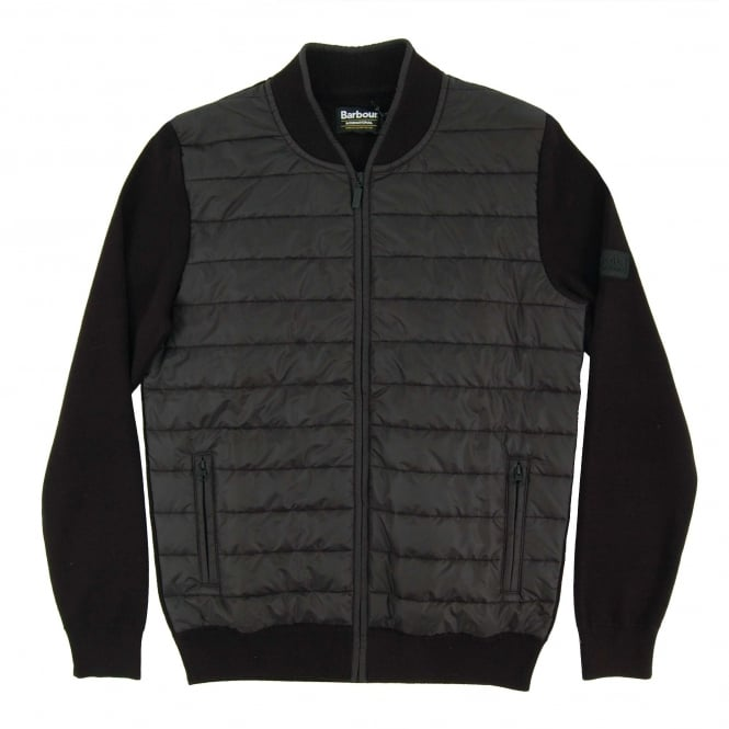 Barbour International Baffle Zip Through Knit Black