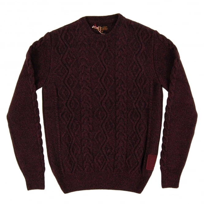 Barbour Barnard Cable Crew Jumper Merlot Mix