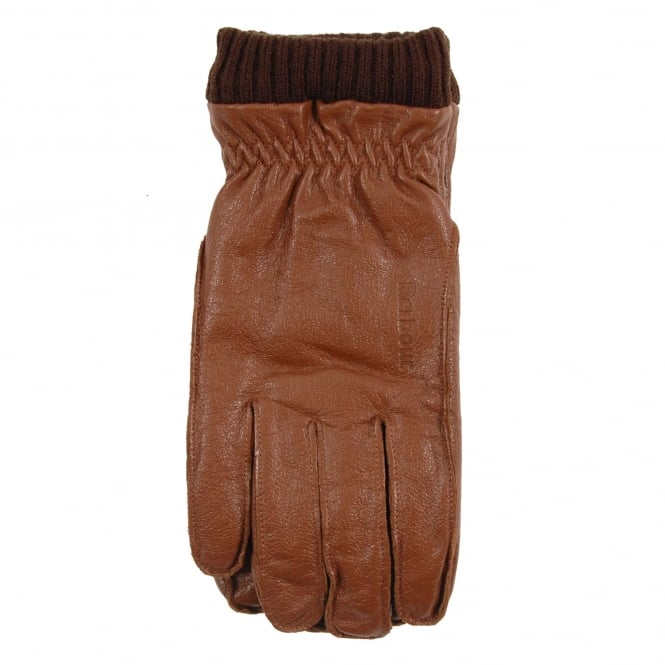 Barbour Barrow Leather Gloves Tan