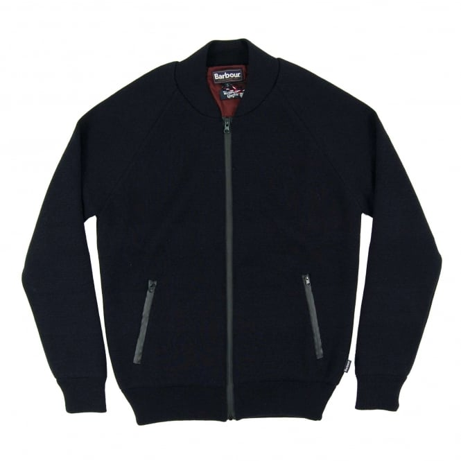 Barbour Becket Waterproof Zip Through Knit Navy