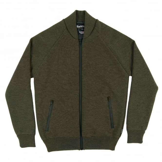 Barbour Becket Waterproof Zip Through Knit Olive