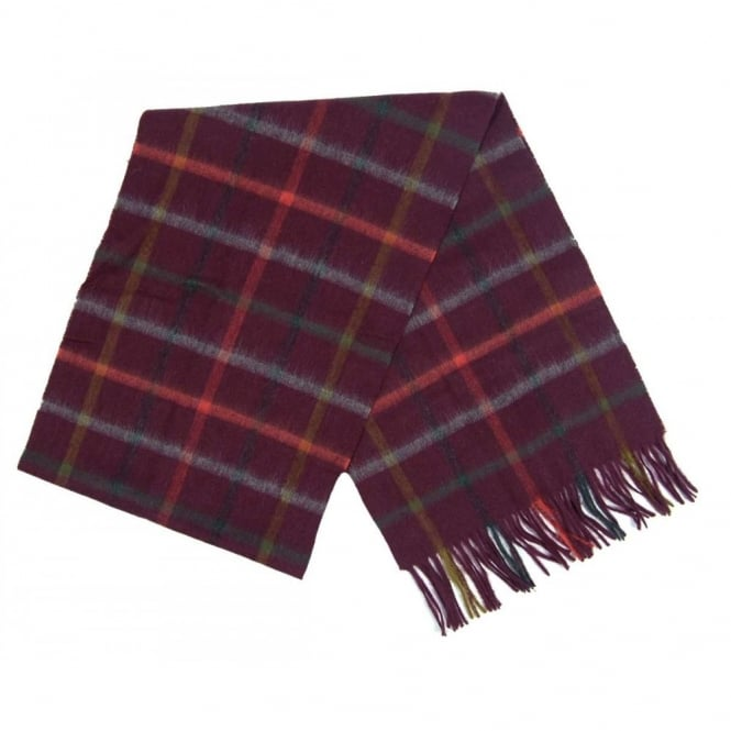 Barbour Bolt Tattersall Scarf Merlot