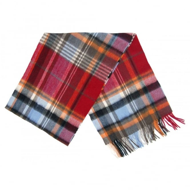 Barbour Bright Country Plaid Scarf Blue Red