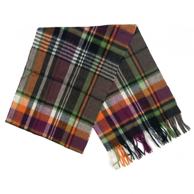 Barbour Bright Country Plaid Scarf Olive Purple