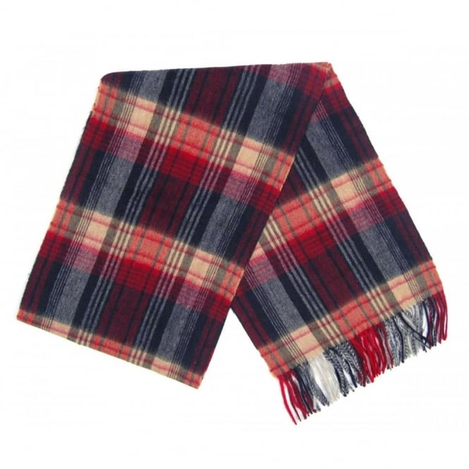 Barbour Brignall Lambswool Scarf Red Navy