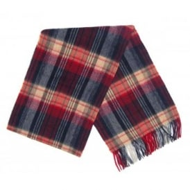 Brignall Lambswool Scarf Red Navy