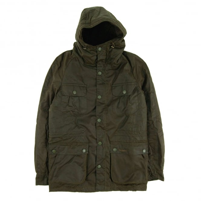 Barbour Brindle Wax Parka Jacket Fern