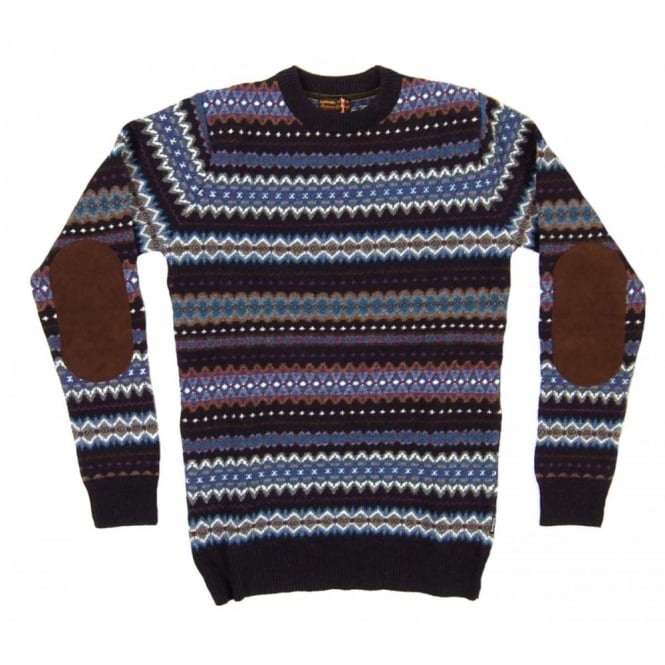 Barbour Caister Fairisle Crew Jumper Navy - Mens Clothing from ...