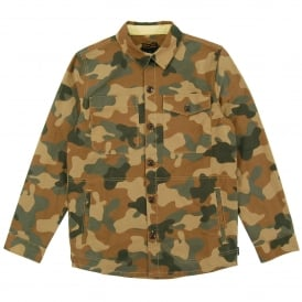 Camo Button Through Over Shirt Olive