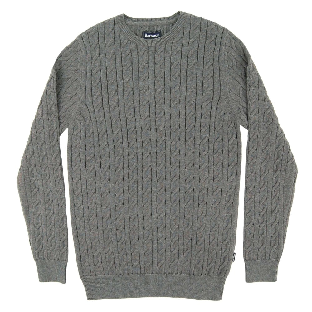 4dedba33bbe3e Barbour Cotton Cashmere Cable Crew Jumper Grey - Mens Clothing from ...