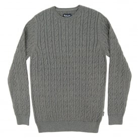 Cotton Cashmere Cable Crew Jumper Grey