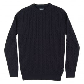 Cotton Cashmere Cable Crew Jumper Navy