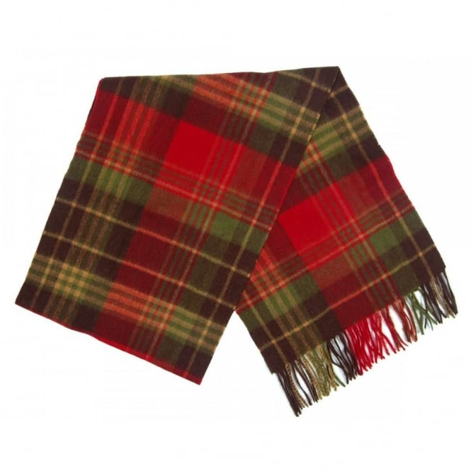 Barbour Country Check Scarf Olive Red
