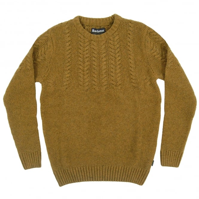 Barbour Craster Cable Crew Jumper Antique Gold