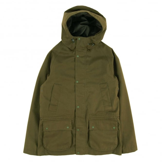 Barbour Downpour Hooded Waterproof Jacket Clay