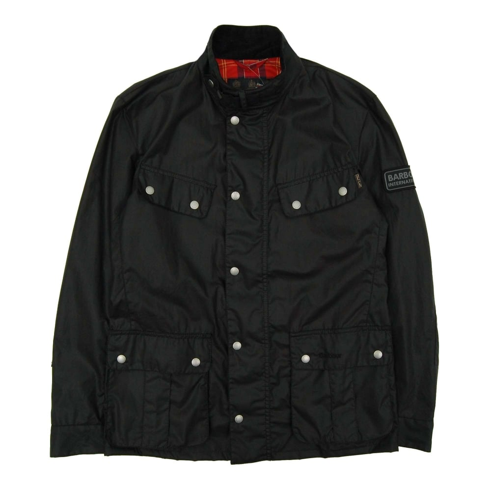 Barbour International Enfield 4oz Wax Jacket Black Mens