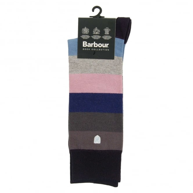 Barbour Heywood Socks Navy Pink