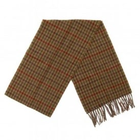 Houghton Check Scarf Dark Camel Shepherd