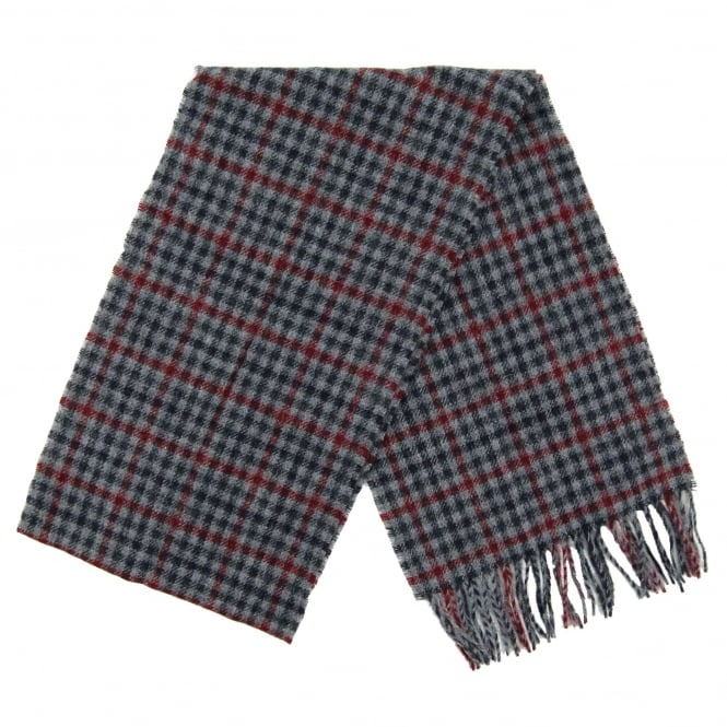 Barbour Houghton Check Scarf Navy Merlot