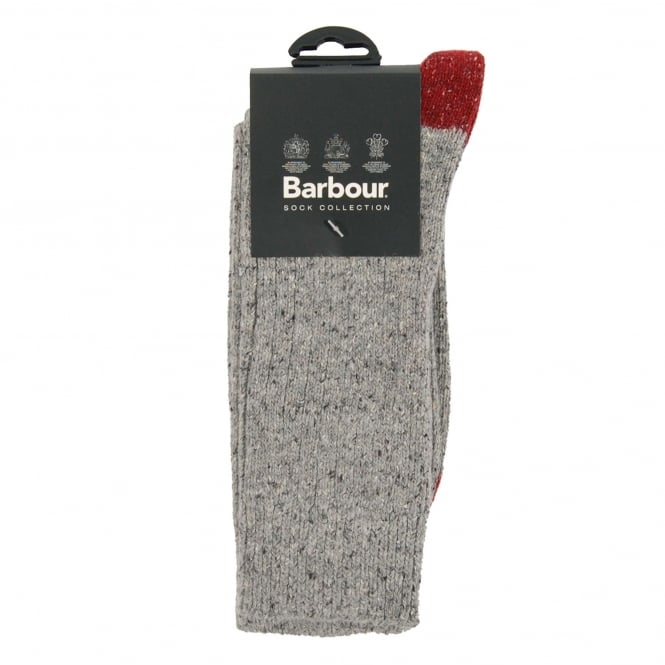 Barbour Houghton Sock Grey Red