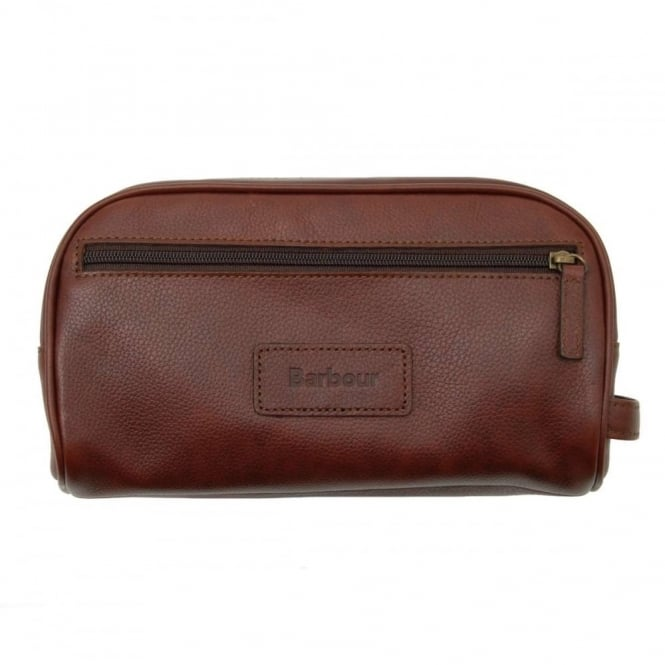 Barbour Leather Washbag Dark Brown
