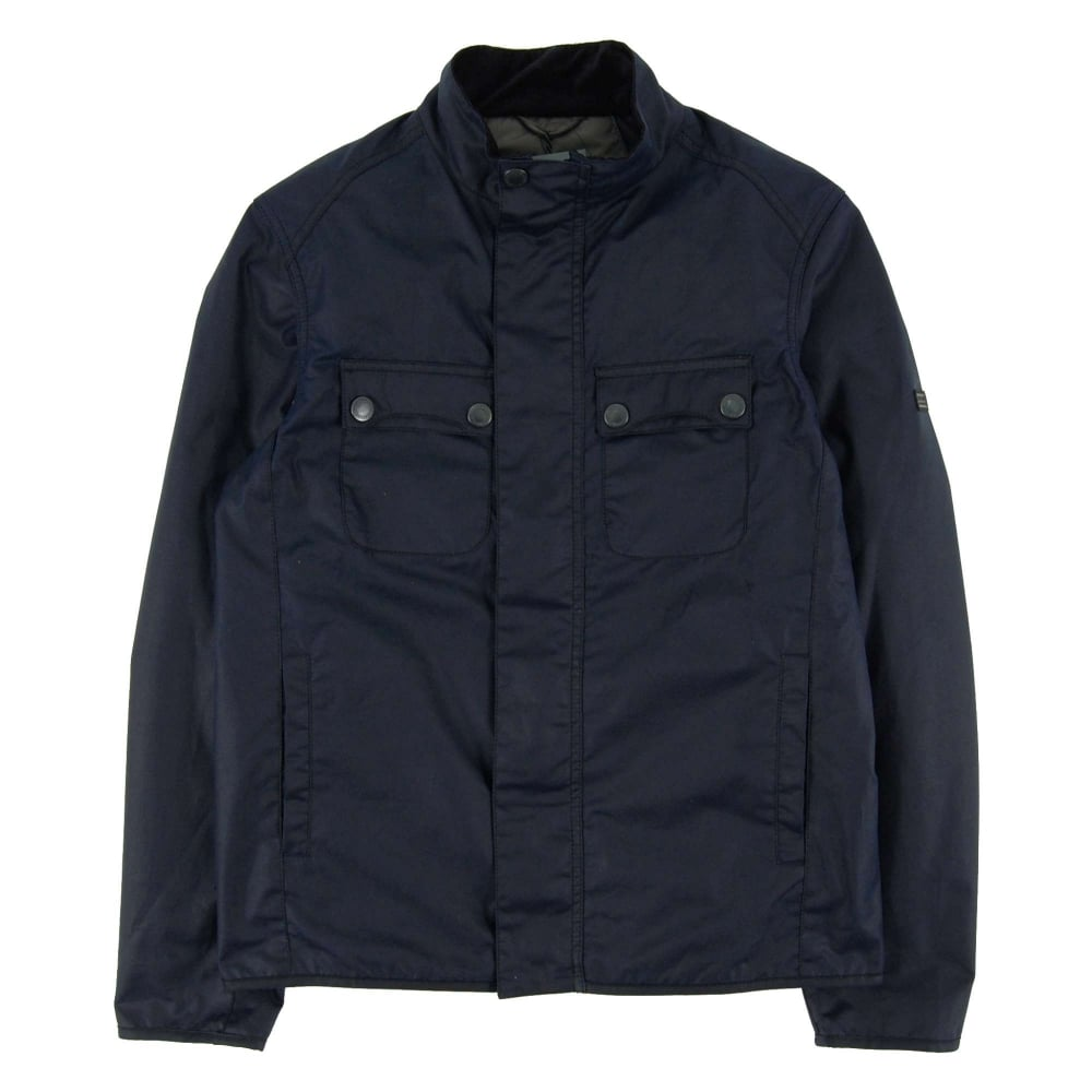 Barbour international lock wax jacket indigo mens for Locker loop dress shirt