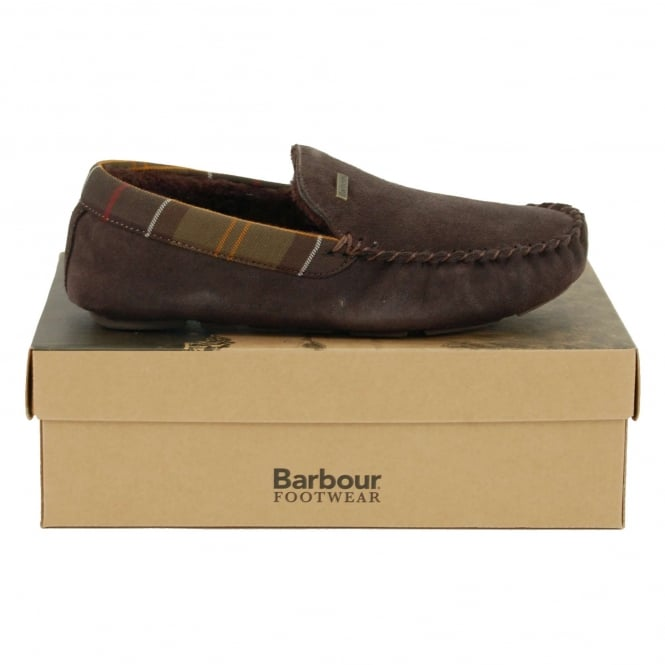 Barbour Monty Slippers Brown Suede