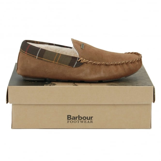 Barbour Monty Slippers Camel Suede