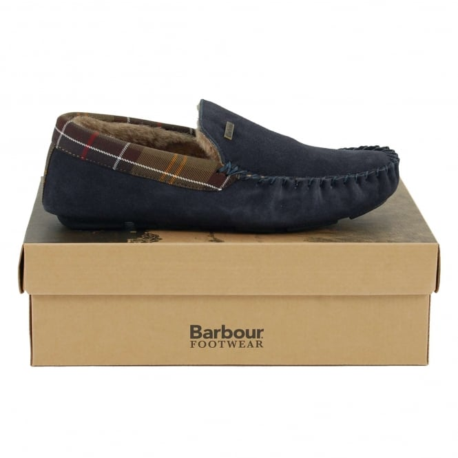 Barbour Monty Slippers Navy Suede
